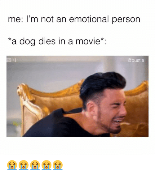 Memes, Movie, and 🤖: me: l'm not an emotional person  *a dog dies in a movie*  @bustle 😭😭😭😭😭
