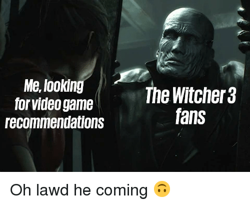 recommendations: Me, lookin  for video game  recommendations  The Witcher 3  fans Oh lawd he coming 🙃