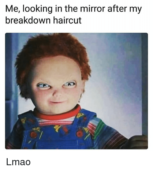 Funny, Haircut, and Lmao: Me, looking in the mirror after my  breakdown haircut Lmao