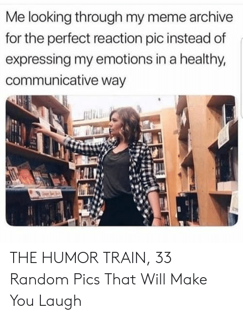 Meme, Train, and Looking: Me looking through my meme archive  for the perfect reaction pic instead of  expressing my emotions in a healthy,  communicative way THE HUMOR TRAIN, 33 Random Pics That Will Make You Laugh