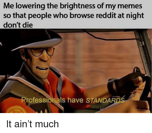Dont Die: Me lowering the brightness of my memes  so that people who browse reddit at night  don't die  Professionals have STANDAR It ain't much