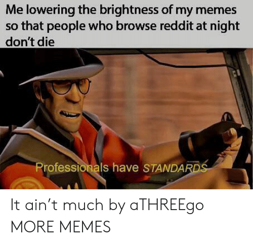 Dont Die: Me lowering the brightness of my memes  so that people who browse reddit at night  don't die  Professionals have STANDAR It ain't much by aTHREEgo MORE MEMES