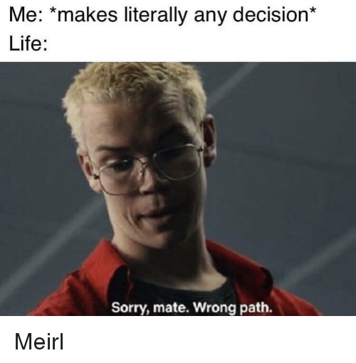 Life, Sorry, and MeIRL: Me: *makes literally any decision*  Life:  Sorry, mate. Wrong path. Meirl