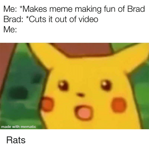 """Meme, Video, and Fun: Me: """"Makes meme making fun of Brad  Brad: *Cuts it out of video  Me:  made with mematic"""