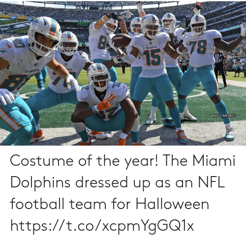 Dressed Up: Me  MIAS  Doline  78  Dolphins  15  Dofphins  @NFL MEMES Costume of the year! The Miami Dolphins dressed up as an NFL football team for Halloween https://t.co/xcpmYgGQ1x