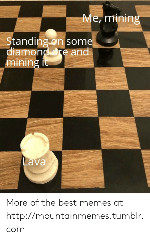lava: Me, mining  Standing on some  diamond re and  mining it  Lava More of the best memes at http://mountainmemes.tumblr.com