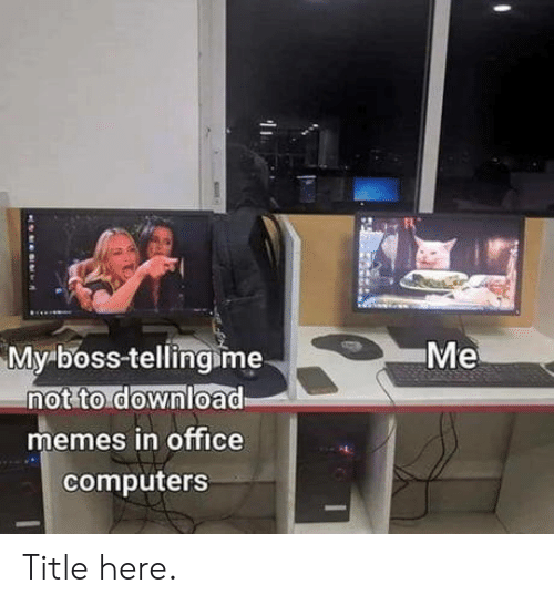 Computers: Me  My boss-tellingime  not to download  memes in office  computers Title here.