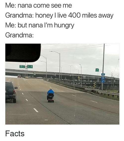 Facts, Grandma, and Hungry: Me: nana come see me  Grandma: honey l live 400 miles away  Me: but nana lI'm hungry  Grandma:  四  I0 Facts