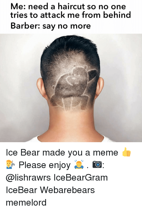 Barber, Haircut, and Meme: Me: need a haircut so no one  tries to attack me from behind  Barber: say no more Ice Bear made you a meme 👍💇‍♂️ Please enjoy 🙇 . 📷: @lishrawrs IceBearGram IceBear Webarebears memelord