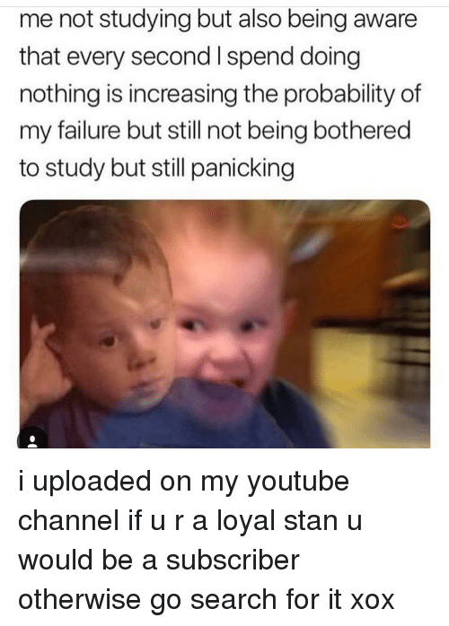 Memes, Stan, and youtube.com: me not studying but also being aware  that every second I spend doingg  nothing is increasing the probability of  my failure but still not being bothered  to study but still panicking i uploaded on my youtube channel if u r a loyal stan u would be a subscriber otherwise go search for it xox