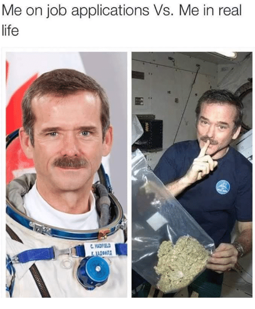 Me In Real Life: Me on job applications Vs. Me in real  life  HADFIELD