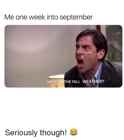 Fall, Memes, and The Fall: Me one week into september  WHERE IS THE FALL WEATHER? Seriously though! 😂