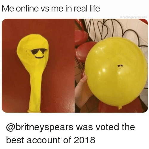Me In Real Life: Me online vs me in real life  @cabbagecatmemes @britneyspears was voted the best account of 2018