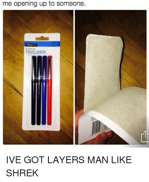 Funny, Shrek, and Layers: me opening up to someone.  4 PACK  FINELINER IVE GOT LAYERS MAN LIKE SHREK