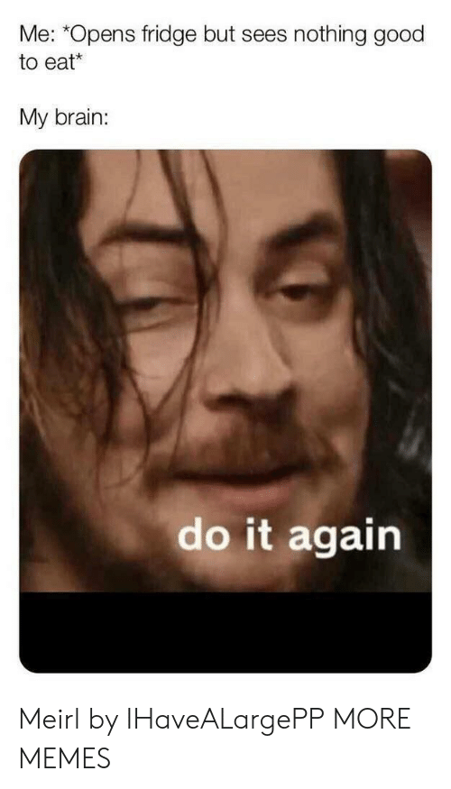 """Dank, Do It Again, and Memes: Me: """"Opens fridge but sees nothing good  to eat  My brain:  do it again Meirl by IHaveALargePP MORE MEMES"""
