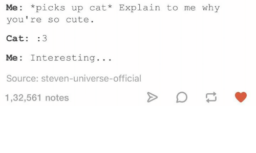 Cute, Humans of Tumblr, and Steven Universe: Me *picks up cat* Explain to me why  you're so cute.  Cat: 3  Me: Interesting...  Source: steven-universe-official  1,32,561 notes
