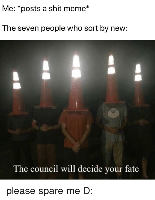 Meme, Shit, and Fate: Me: *posts a shit meme*  The seven people who sort by new:  The council will decide your fate please spare me D: