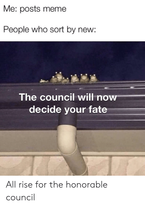 honorable: Me: posts meme  People who sort by new:  The council will now  decide your fate All rise for the honorable council