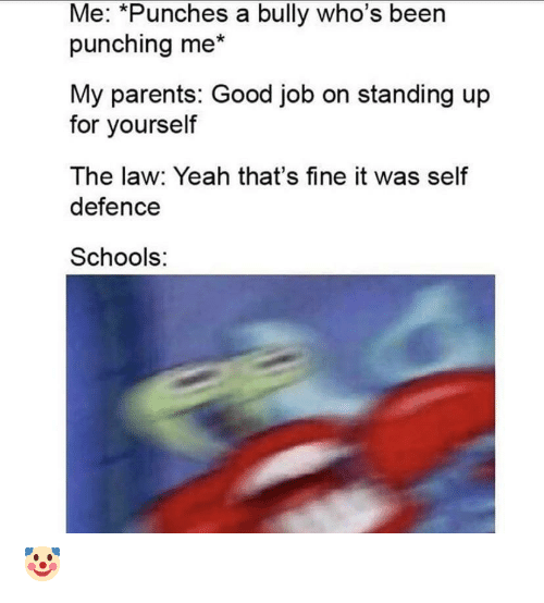 law: Me: *Punches a bully who's been  punching me*  My parents: Good job on standing up  for yourself  The law: Yeah that's fine it was self  defence  Schools: 🤡