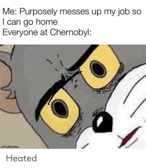 Home, Job, and Chernobyl: Me: Purposely messes up my job so  I can go home  Everyone at Chernobyl:  u/NotNordyy Heated