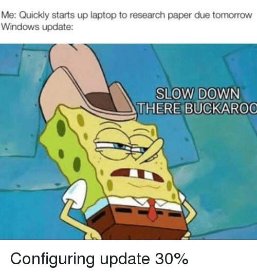 windows update: Me: Quickly starts up laptop to research paper due tomorrow  Windows update:  SLOW DOWN  THERE BUCKAROO Configuring update 30%