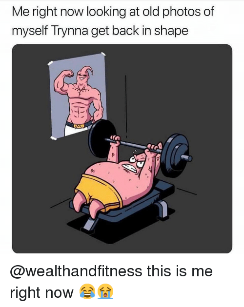 Gym, Old, and Back: Me right now looking at old photos of  myself Trynna get back in shape  TE  (n @wealthandfitness this is me right now 😂😭
