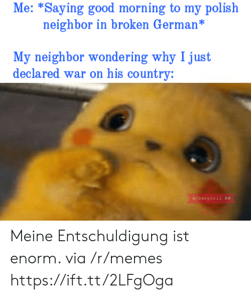 polish: Me: *Saying good morning to my polish  neighbor in broken German*  My neighbor wondering why I just  declared war on his country:  u/babydoll bd Meine Entschuldigung ist enorm. via /r/memes https://ift.tt/2LFgOga