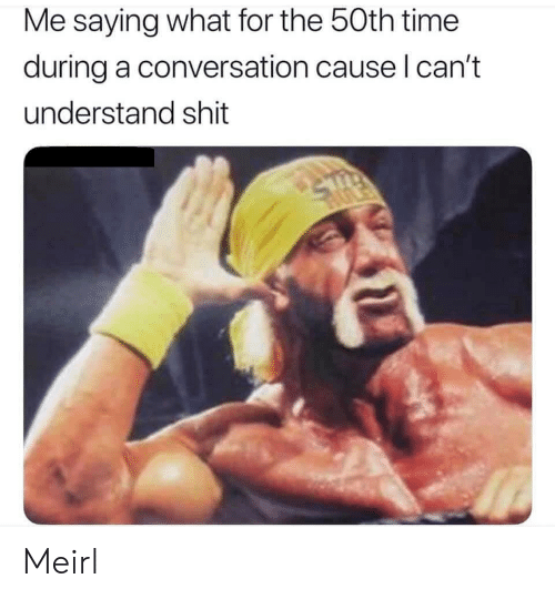 Shit, Time, and MeIRL: Me saying what for the 50th time  during a conversation cause I can't  understand shit Meirl