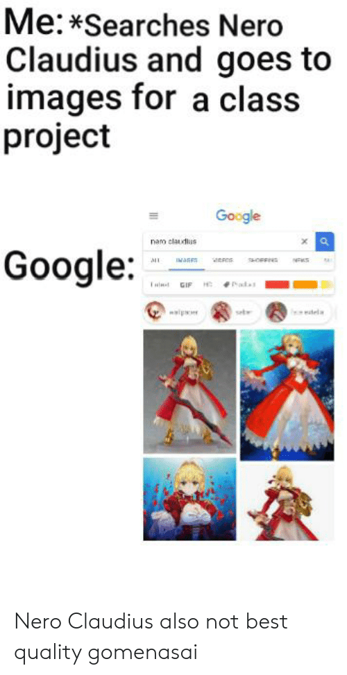 Anime, Gif, and Google: Me:*Searches Nero  Claudius and goes to  images for a class  project  Google  nao claudlus  Google  ALL  IAGES  HOFFIN  H Pad.  GIF  wip  seb  dela Nero Claudius also not best quality gomenasai