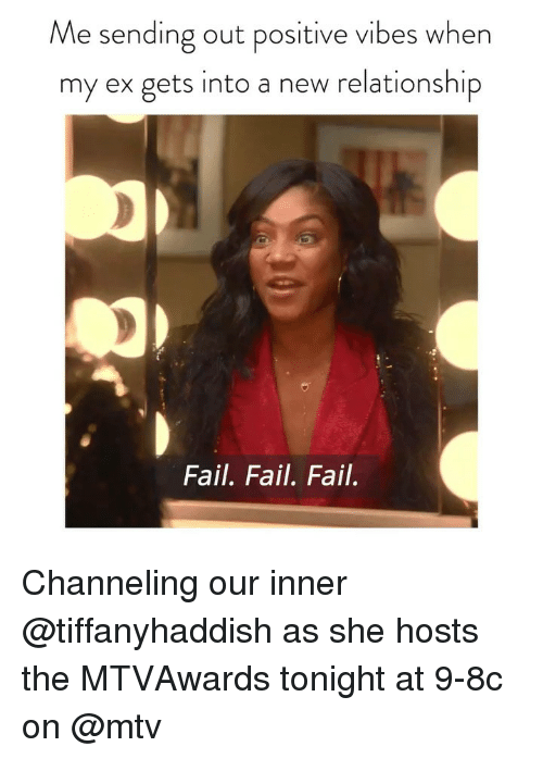 channeling: Me sending out positive vibes when  my ex gets into a new relationship  Fail. Fail. Fail. Channeling our inner @tiffanyhaddish as she hosts the MTVAwards tonight at 9-8c on @mtv