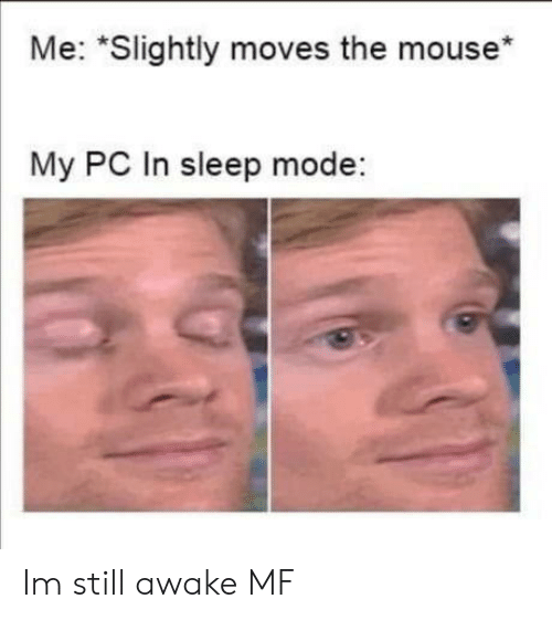 "Mouse: Me: ""Slightly moves the mouse*  My PC In sleep mode: Im still awake MF"