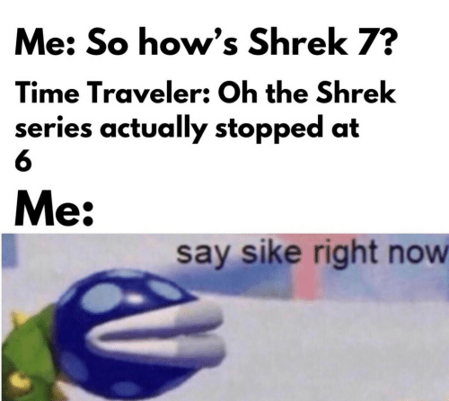 Shrek, Time, and Now: Me: So how's Shrek 7?  Time Traveler: Oh the Shrek  series actually stopped at  6  Me:  say sike right now