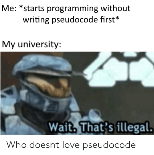 Love, Programming, and Who: Me: *starts programming without  writing pseudocode first*  My university:  Wait, That's illegal. Who doesnt love pseudocode