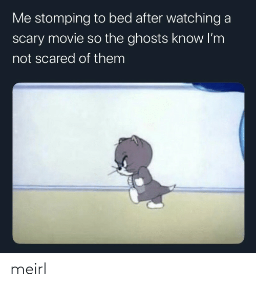 scared: Me stomping to bed after watching a  scary movie so the ghosts know I'm  not scared of them meirl
