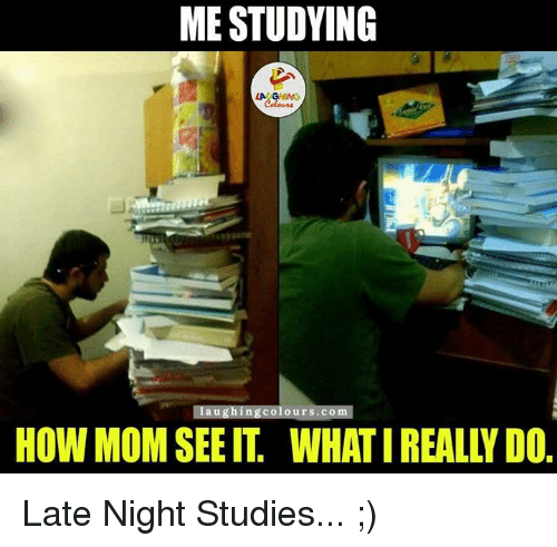 What I really do: ME STUDYING  Ilaugningcolour s.com  HOW MOM SEE IT, WHAT I REALLY DO Late Night Studies... ;)