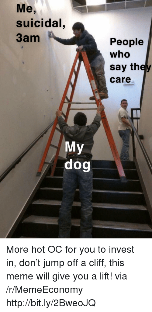 Meme, Http, and Dog: Me,  suicidal  3am  People  who  say they  care  My  dog More hot OC for you to invest in, don't jump off a cliff, this meme will give you a lift! via /r/MemeEconomy http://bit.ly/2BweoJQ