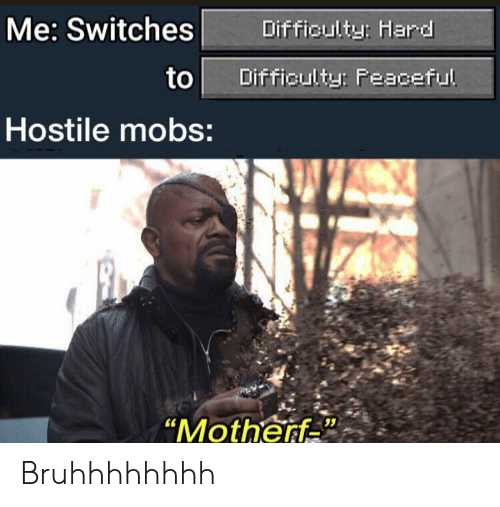 """Peaceful: Me: Switches  Difficulty: Hard  to  Difficulty: Peaceful  Hostile mobs:  """"Motherf Bruhhhhhhhh"""