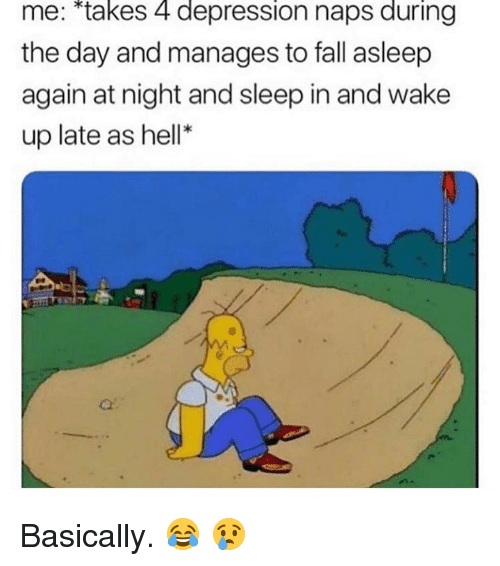 "Fall, Depression, and Hell: me: ""takes 4 depression naps during  the day and manages to fall asleep  again at night and sleep in and wake  up late as hell* Basically. 😂 😢"