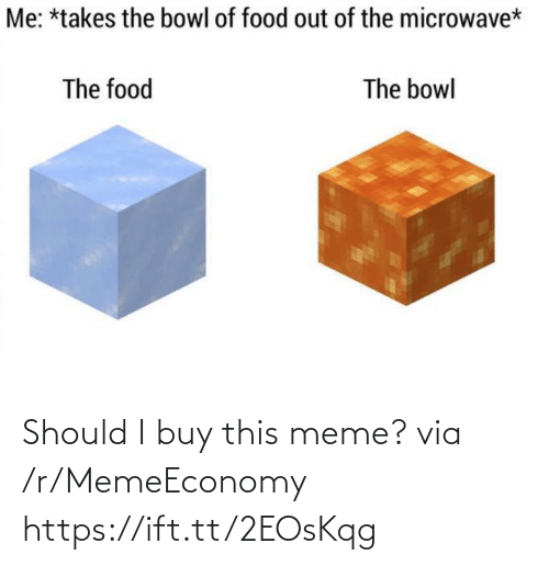 This Meme: Me: *takes the bowl of food out of the microwave*  The food  The bowl Should I buy this meme? via /r/MemeEconomy https://ift.tt/2EOsKqg