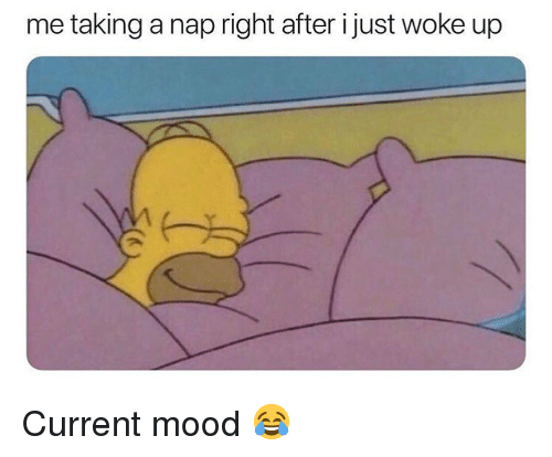 I Just Woke Up: me taking a nap right after i just woke up Current mood 😂