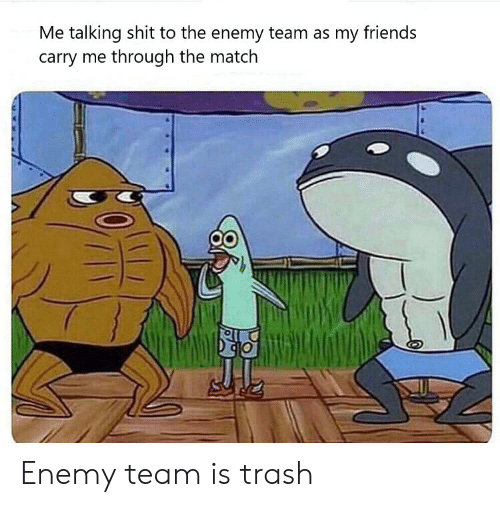 the enemy: Me talking shit to the enemy team as my friends  carry me through the match Enemy team is trash
