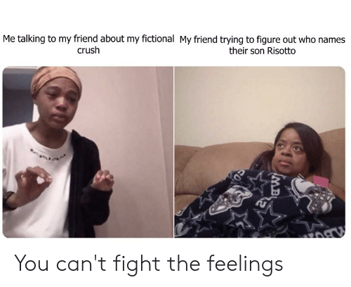 Crush, Fictional, and Fight: Me talking to my friend about my fictional My friend trying to figure out who names  crush  their son Risotto  IMB  SO You can't fight the feelings