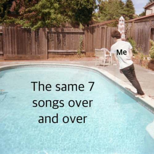 And Over: Me  The same 7  songs over  and over
