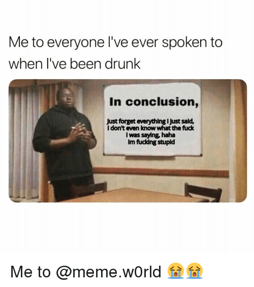 Drunk, Funny, and Meme: Me to everyone I've ever spoken to  when I've been drunk  In conclusion,  Just forget everything I Just sald,  I don't even know what the fuck  I was saying haha  Im fuckdng stupld Me to @meme.w0rld 😭😭