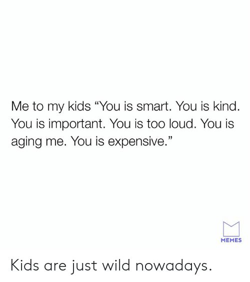 """You Is Kind: Me to my kids """"You is smart. You is kind.  You is important. You is too loud. You i:s  aging me. You is expensive.""""  MEMES Kids are just wild nowadays."""