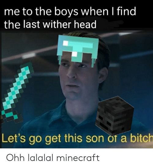 Bitch, Head, and Minecraft: me to the boys when I find  the last wither head  Let's go get this son of a bitch Ohh lalalal minecraft