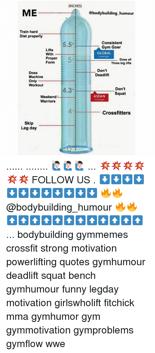 Dieting, Memes, and Bodybuilding: ME  Train hard  Diet properly  Lifts  With  Proper  Form  Does  Machine  Only  Workout  Weekend  Warriors  Skip  Leg day  (INCHES)  5.5  8body building humour  Consistent  Gym Goer  GLOBAL  Does all  Three big lifts  Don't  Deadlift  Don't  Squat  ASEAN  Crossfitters ...... ........ 🙋🏻♂️🙋🏻♂️🙋🏻♂️ ... 💥💥💥💥💥💥 FOLLOW US . ⬇️⬇️⬇️⬇️⬇️⬇️⬇️⬇️⬇️⬇️⬇️⬇️ 🔥🔥@bodybuilding_humour 🔥🔥 ⬆️⬆️⬆️⬆️⬆️⬆️⬆️⬆️⬆️⬆️⬆️⬆️ ... bodybuilding gymmemes crossfit strong motivation powerlifting quotes gymhumour deadlift squat bench gymhumour funny legday motivation girlswholift fitchick mma gymhumor gym gymmotivation gymproblems gymflow wwe