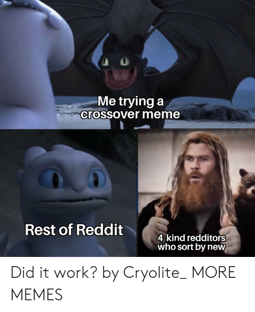 Dank, Meme, and Memes: Me trying a  crossover meme  Rest of Reddit  4 kind redditors  who sort by new Did it work? by Cryolite_ MORE MEMES