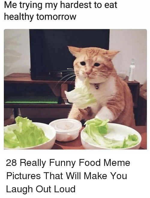 meme pictures: Me trying my hardest to eat  healthy tomorrow 28 Really Funny Food Meme Pictures That Will Make You Laugh Out Loud