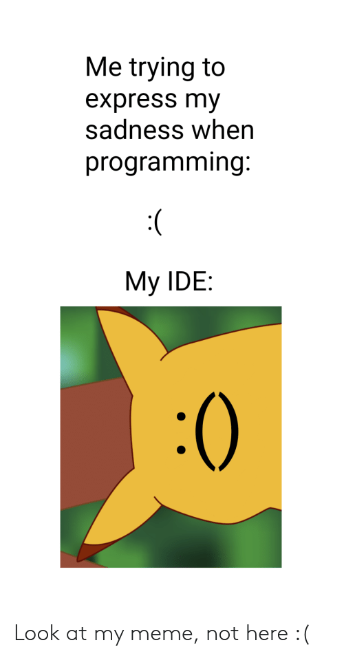 My Meme: Me trying to  express my  sadness when  programming  My IDE:  :0 Look at my meme, not here :(